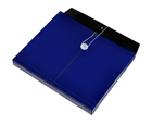 TWO-TONE OPAQUE Poly Envelope with Gusset, Letter, Side Load, String & Button Closure, Blue