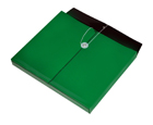 TWO-TONE OPAQUE Poly Envelope with Gusset, Letter, Side Load, String & Button Closure, Green