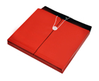 TWO-TONE OPAQUE Poly Envelope with Gusset, Letter, Side Load, String & Button Closure, Red