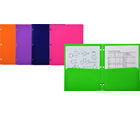 FUN-COLOR™  2-Pocket Plastic Folders for Binder, Assorted, 48ea/box