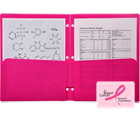2-Pocket Plastic Folder for Binder, Hot Pink