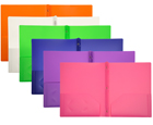 2-Pocket Plastic Folders with Fasteners, Assorted, 24ea/box