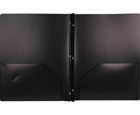 2-Pocket Plastic Folder with Fasteners, Black