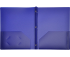 2-Pocket Plastic Folder with Fasteners, Dark Blue