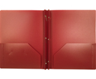 2-Pocket Plastic Folder with Fasteners, Burgundy