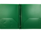 2-Pocket Plastic Folder with Fasteners, Dark Green