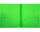 2-Pocket Plastic Folder with Fasteners, Green