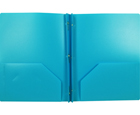 2-Pocket Plastic Folder with Fasteners, Light Blue