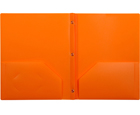2-Pocket Plastic Folder with Fasteners, Orange