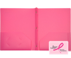 2-Pocket Plastic Folder with Fasteners, Hot Pink