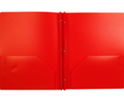 2-Pocket Plastic Folder with Fasteners, Red