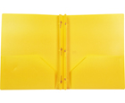 2-Pocket Plastic Folder with Fasteners, Yellow