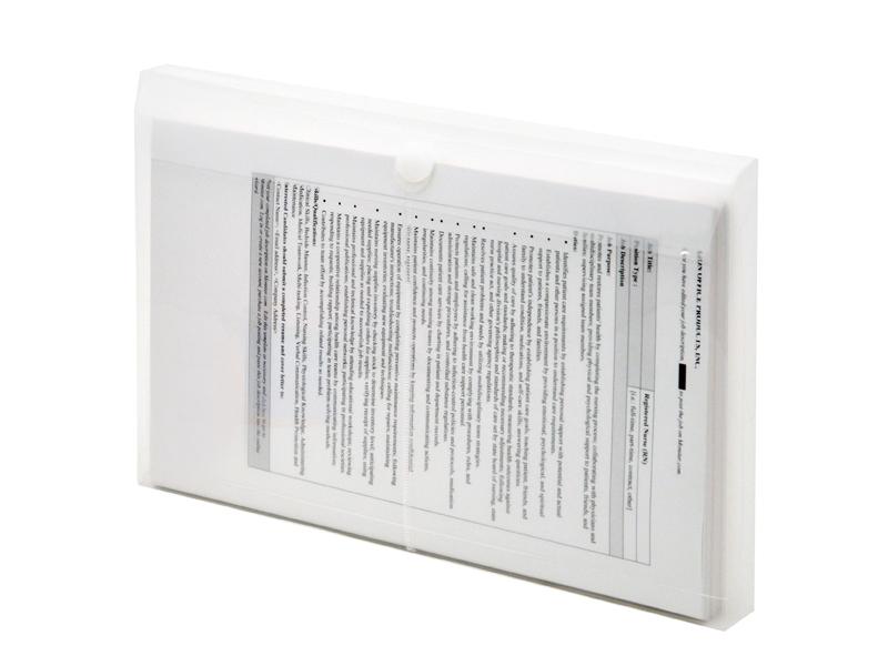 Clear Plastic Envelopes with Velcro, Legal Size Envelopes, Side