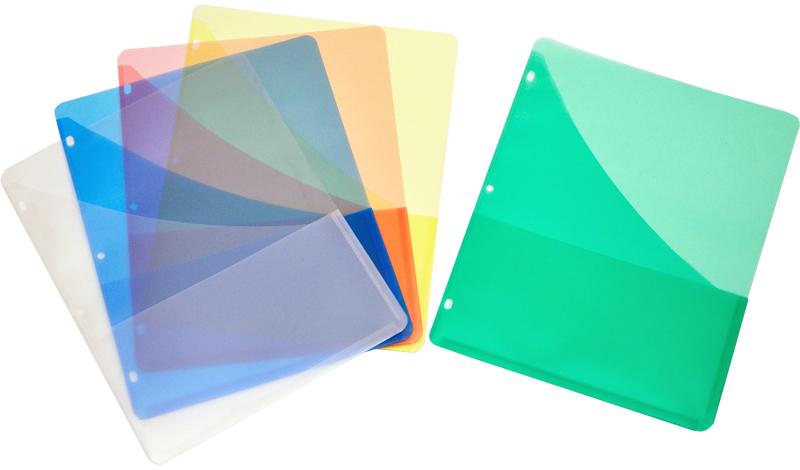 Plastic Binder Pockets Double Pocket