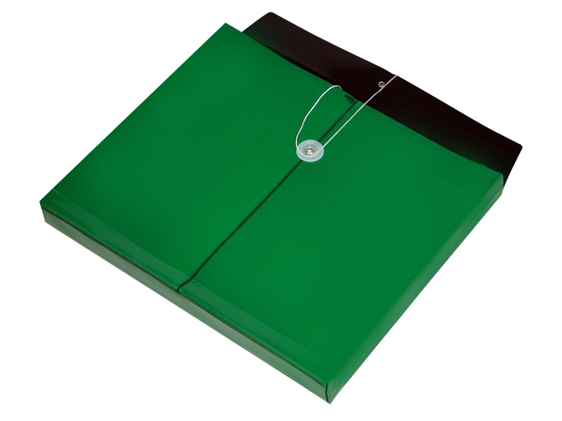 green plastic envelope with string opaque envelope