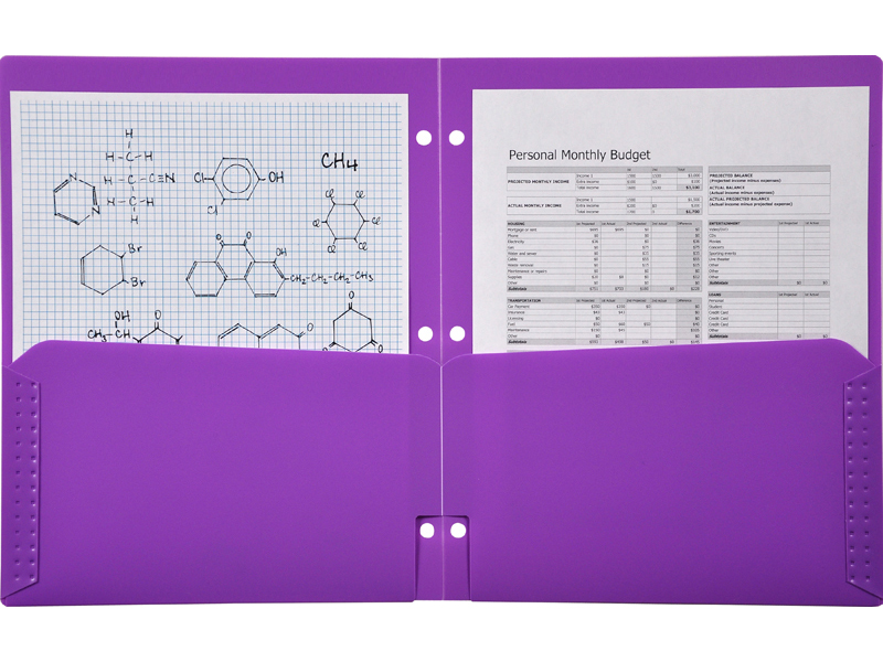 2 Pocket Plastic Folder for Binder, Purple pocket folder