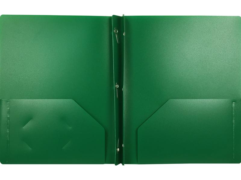 2 Pocket Plastic Folder With Fasteners Dark Green Pocket