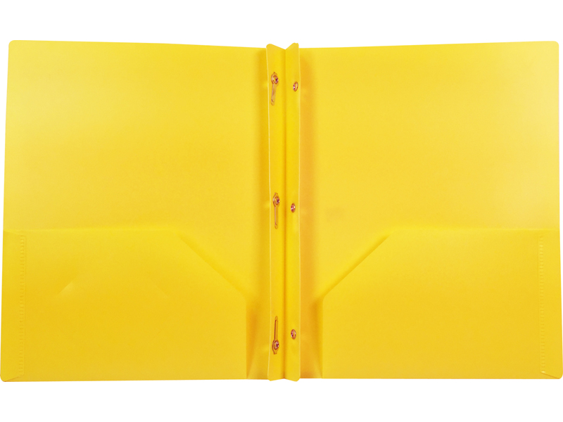 2 Pocket Plastic Folder With Fasteners Yellow Pocket Folder