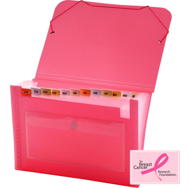 Clear Line 13 Pocket Poly Expanding File Transparent Pink