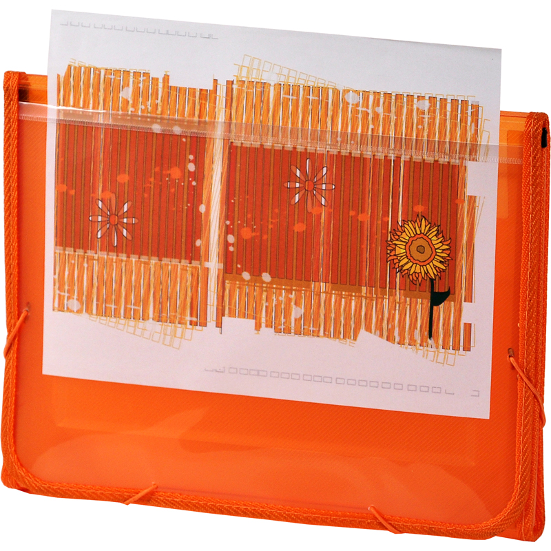 CLEAR-LINE INSTA-COVER 7-pocket Poly Expanding File, Orange