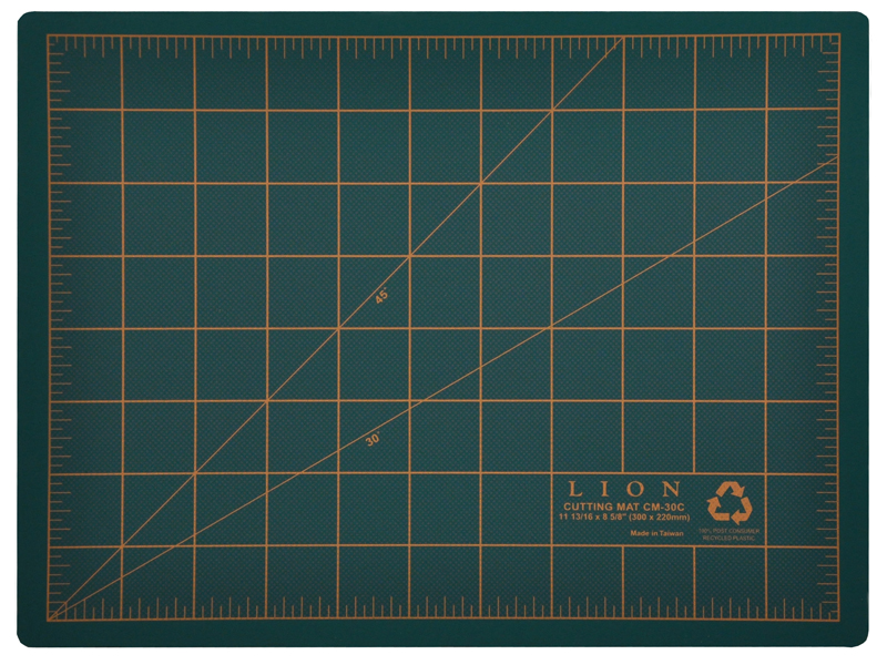 Post Consumer Recycled Cutting Mat 9 X 12 Green