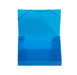 2-inch Capacity Plastic Document File Tote, Blue