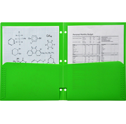 2 Pocket Plastic Folder for Binder, Green plastic folder