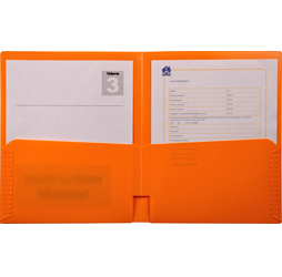 2-Pocket Plastic Folder, Orange Plastic Folder
