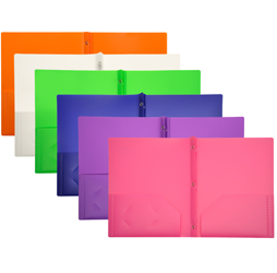 2-Pocket Plastic Folders with Fasteners, Color Pocket Folders