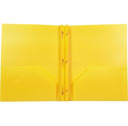 2 Pocket Plastic Folder With Fasteners Yellow Pocket Folder