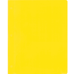 2-Pocket Plastic Folder with Fasteners, Yellow Pocket Folder