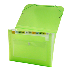 CLEAR-LINE 13-pocket Poly Expanding File, Transparent Green