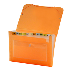 CLEAR-LINE 13-pocket Poly Expanding File, Transparent Orange