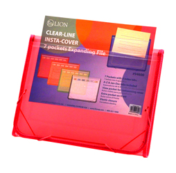 CLEAR-LINE INSTA-COVER 7-pocket Poly Expanding File, Pink